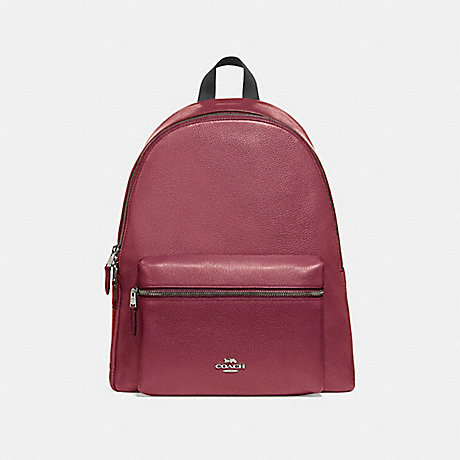 COACH f29004 CHARLIE BACKPACK SILVER/HOT PINK