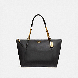 AVA CHAIN TOTE - f29007 - BLACK/IMITATION GOLD
