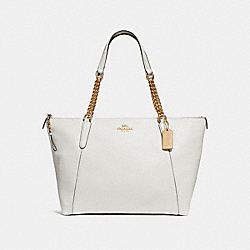 AVA CHAIN TOTE - f29007 - CHALK/IMITATION GOLD