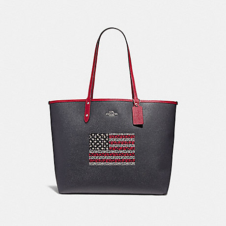 COACH f29018 REVERSIBLE CITY TOTE IN SIGNATURE CANVAS WITH FLAG DENIM/MULTI/SILVER