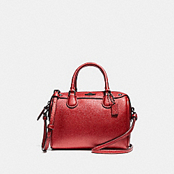 MICRO BENNETT SATCHEL - f29020 - METALLIC HOT PINK/BLACK ANTIQUE NICKEL