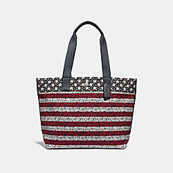 TOTE WITH AMERICANA PRINT - f29036 - multi/black antique nickel