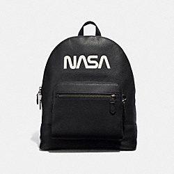 COACH F29039 West Backpack With Space Motif ANTIQUE NICKEL/BLACK