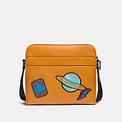 CHARLES CAMERA BAG WITH SPACE PATCHES - f29042 - TANGERINE/BLACK ANTIQUE NICKEL