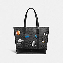 WEST TOTE IN SIGNATURE CANVAS WITH SPACE PATCHES - f29045 - CHARCOAL/BLACK/BLACK ANTIQUE NICKEL
