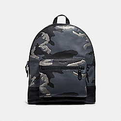 COACH F29050 West Backpack With Metallic Camo Print GREY MULTI/MATTE BLACK