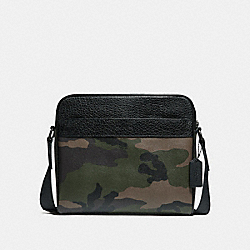 CHARLES CAMERA BAG WITH CAMO PRINT - f29052 - DARK GREEN MULTI/BLACK ANTIQUE NICKEL