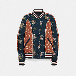 REVERSIBLE FLORAL SOUVENIR JACKET - f29060 - NAVY/MULTICOLOR