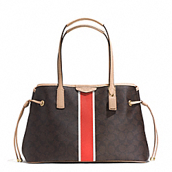 COACH F29064 - SIGNATURE STRIPE DRAWSTRING CARRYALL BRASS/BROWN/VERMILLION