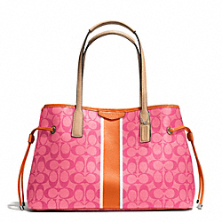 COACH F29064 - SIGNATURE STRIPE DRAWSTRING CARRYALL SILVER/PINK/ORANGE
