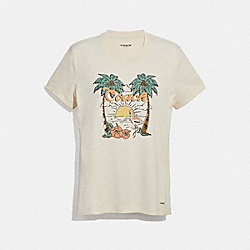 COACH F29074 Blue Hawaii T-shirt CHALK
