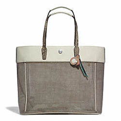 COACH F29102 - BEACH CLEAR LARGE TOTE SILVER/NATURAL