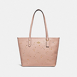 CITY ZIP TOTE WITH CELESTIAL STUDS - f29129 - nude pink/light gold