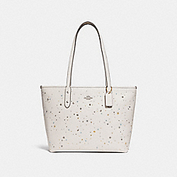 CITY ZIP TOTE WITH CELESTIAL STUDS - f29129 - SILVER/CHALK