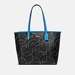 COACH F29131 Reversible City Tote With Celestial Print BLACK/BRIGHT BLUE/SILVER