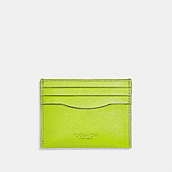 COACH F29140 Card Case NEON YELLOW/BLACK ANTIQUE NICKEL