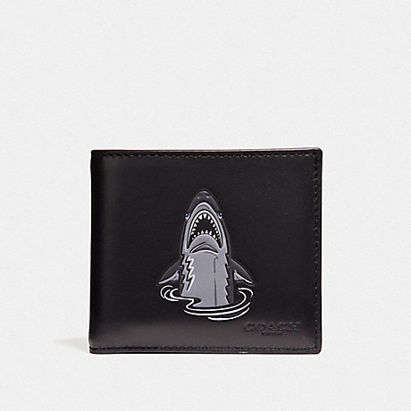 COACH F29172 DOUBLE BILLFOLD WALLET WITH MASCOT SHARKY BLACK