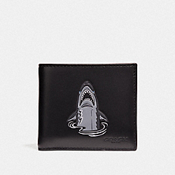 COACH F29172 - DOUBLE BILLFOLD WALLET WITH MASCOT SHARKY BLACK