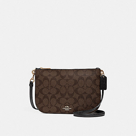 COACH f29207 TRANSFORMABLE CROSSBODY IN COLORBLOCK SIGNATURE CANVAS BROWN/BLACK/LIGHT GOLD