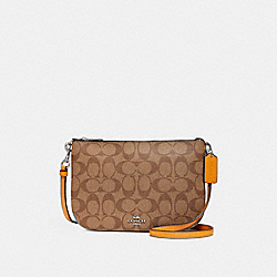 TRANSFORMABLE CROSSBODY IN COLORBLOCK SIGNATURE CANVAS - f29207 - SVE7V