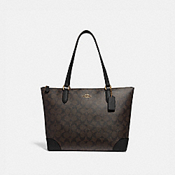 COACH F29208 - ZIP TOP TOTE IN SIGNATURE CANVAS BROWN/BLACK/LIGHT GOLD