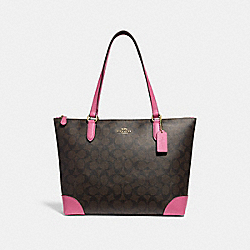 COACH F29208 - ZIP TOP TOTE IN SIGNATURE CANVAS BROWN /PINK/LIGHT GOLD