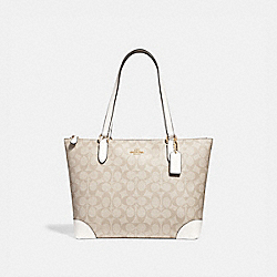 ZIP TOP TOTE IN SIGNATURE CANVAS - f29208 - LIGHT KHAKI/CHALK/IMITATION GOLD