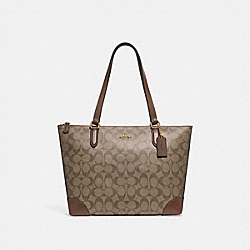 ZIP TOP TOTE IN SIGNATURE CANVAS - f29208 - KHAKI/SADDLE 2/IMITATION GOLD