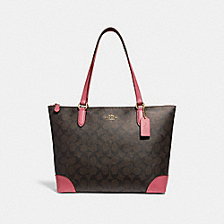 COACH F29208 Zip Top Tote In Signature Canvas BROWN/PEONY/LIGHT GOLD