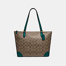 COACH F29208 Zip Top Tote In Signature Canvas KHAKI/DARK TURQUOISE/LIGHT GOLD