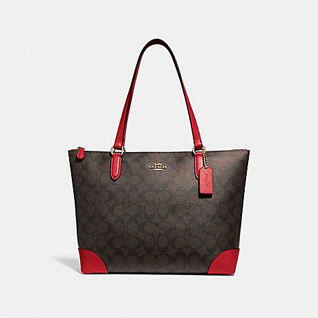 COACH F29208 ZIP TOP TOTE IN SIGNATURE CANVAS BROWN/RUBY/IMITATION GOLD