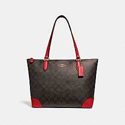 COACH F29208 - ZIP TOP TOTE IN SIGNATURE CANVAS BROWN/RUBY/IMITATION GOLD