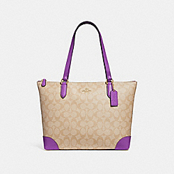 COACH F29208 - ZIP TOP TOTE IN SIGNATURE CANVAS LIGHT KHAKI/PRIMROSE/IMITATION GOLD