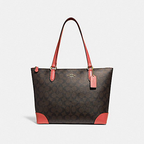 COACH F29208 ZIP TOP TOTE IN SIGNATURE CANVAS BROWN/CORAL/IMITATION GOLD