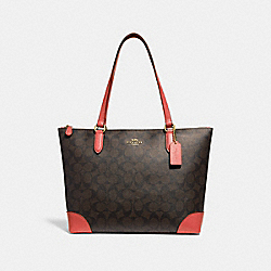 ZIP TOP TOTE IN SIGNATURE CANVAS - F29208 - BROWN/CORAL/IMITATION GOLD