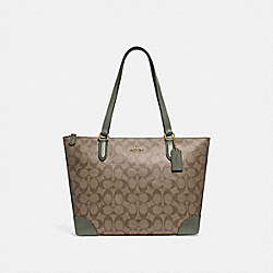 ZIP TOP TOTE IN SIGNATURE CANVAS - F29208 - IM/KHAKI/MILITARY GREEN