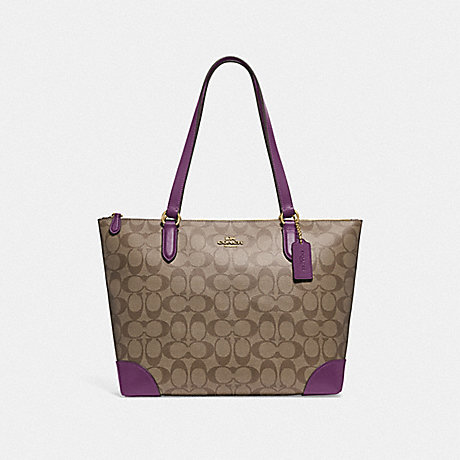 COACH F29208 ZIP TOP TOTE IN SIGNATURE CANVAS KHAKI/BLACKBERRY/GOLD