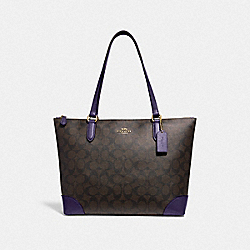 COACH F29208 - ZIP TOP TOTE IN SIGNATURE CANVAS IM/BROWN DARK PURPLE