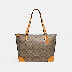 ZIP TOP TOTE IN SIGNATURE CANVAS - f29208 - KHAKI/TANGERINE/SILVER