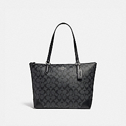 COACH F29208 - ZIP TOP TOTE IN SIGNATURE CANVAS BLACK SMOKE/BLACK/SILVER