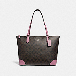 COACH F29208 - ZIP TOP TOTE IN SIGNATURE CANVAS BROWN/AZALEA/SILVER