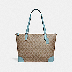 ZIP TOP TOTE IN SIGNATURE CANVAS - f29208 - KHAKI/CYAN/SILVER