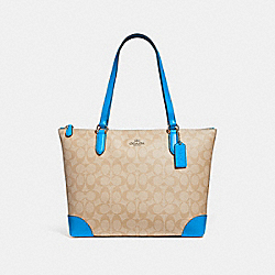 ZIP TOP TOTE IN SIGNATURE CANVAS - f29208 - light khaki/bright blue/silver