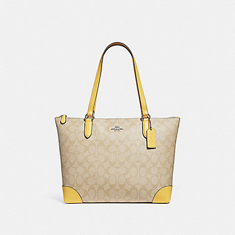 COACH F29208 ZIP TOP TOTE IN SIGNATURE CANVAS LIGHT KHAKI/LIGHT YELLOW/SILVER