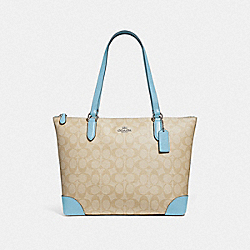 ZIP TOP TOTE IN SIGNATURE CANVAS - F29208 - LIGHT KHAKI/POWDER BLUE/SILVER