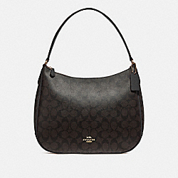 COACH F29209 - ZIP SHOULDER BAG IN SIGNATURE CANVAS BROWN/BLACK/LIGHT GOLD