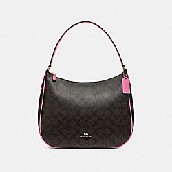COACH F29209 - ZIP SHOULDER BAG IN SIGNATURE CANVAS BROWN /PINK/LIGHT GOLD