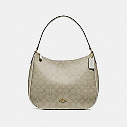 ZIP SHOULDER BAG IN SIGNATURE CANVAS - f29209 - LIGHT KHAKI/CHALK/IMITATION GOLD