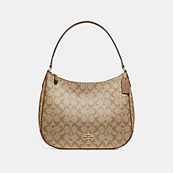 ZIP SHOULDER BAG IN SIGNATURE CANVAS - f29209 - KHAKI/SADDLE 2/IMITATION GOLD
