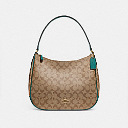 ZIP SHOULDER BAG IN SIGNATURE CANVAS - F29209 - KHAKI/DARK TURQUOISE/LIGHT GOLD